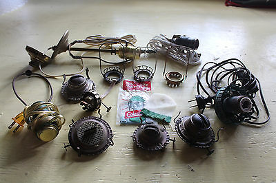 Large Lot Of Antique Kerosene Oil Lamp Burner / Electrical Parts & Wicks