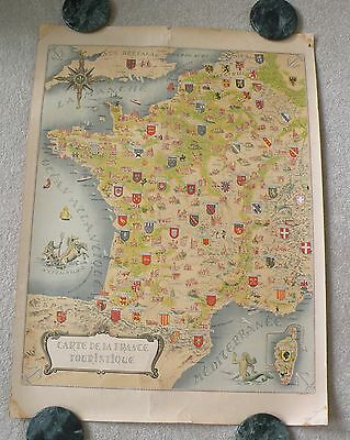 Vintage Tourist Map of France !  Depicts Coat of Arms