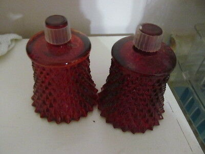 Home Interior / Homco Set Of 2 Red Diamond Cut Votive Cups / Candle Holders