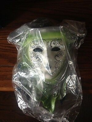 Rhinestone Encrusted White And Green Decorative Mask