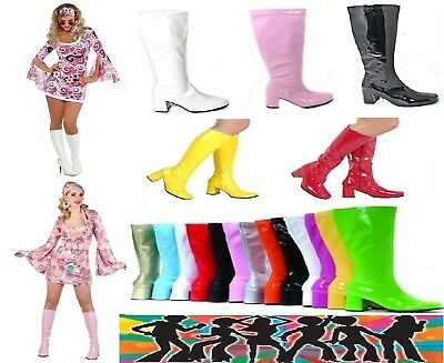 60s /& 70s Party Sizes 3 TO 12 New Women/'s Ladies Fancy Dress Party GO GO Boots