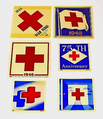 Lot of 6 Vintage 1944-56 ~WWII~ Red Cross Military War Fund Auto Decals Unused