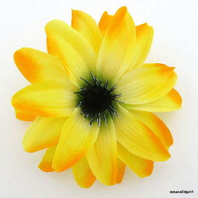 """4.75"""" Variegated Yellow Water Lily Poly Silk Flower Hair Clip,Pin Up,Updo,Hat"""