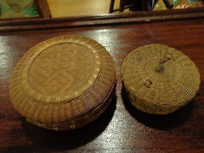 Lot of 2 vintage woven wicker antique round sewing boxes baskets with lids
