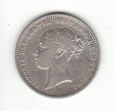 1869 Great Britain Queen Victoria Silver Sixpence.  Die #16. Very Rare. R2  Nice