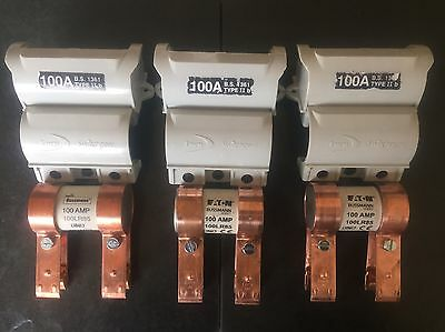 3 x LUCY ELECTRIC TYPE II FUSE 100A CARRIER CUT OUT HOLDERS COMPLETE WITH FUSES