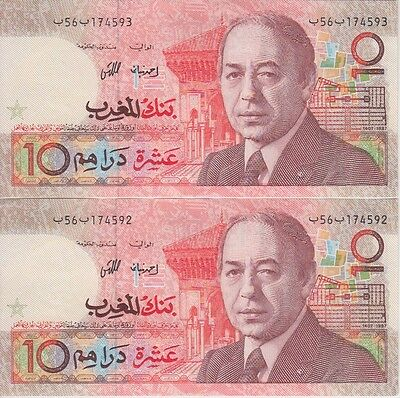 Morocco P# 60 10 Dirhams 1987 Pair With Consecutive Serial Nbr. Extremely Fine