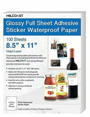 Milcoast Glossy Full Sheet 8.5 x 11 Adhesive Waterproof Photo Craft Paper  Wo...