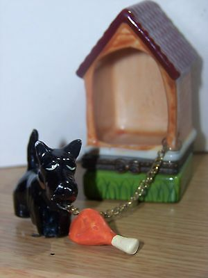 Vintage Mini SCOTTISH TERRIER Porcelain Hand Painted Trinket Box Estate 3.5""