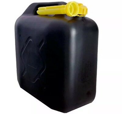 2x 20L BLACK PLASTIC FUEL JERRY CAN PETROL DIESEL WATER 20 LITRE WITH SPOUT UK