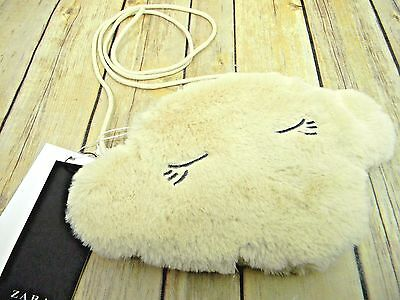 ZARA Child's Soft Fur Cream Lamb Sheep Face Crossbody Purse 8115/186/002 NEW!