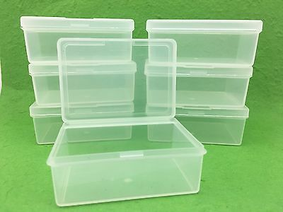 50 x Clear Plastic Storage Containers Boxes with Lids Rectangle Packaging NEW