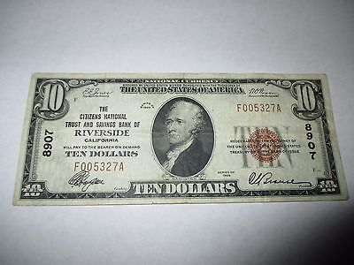 $10 1929 Riverside California CA National Currency Bank Note Bill Ch. #8907 VF