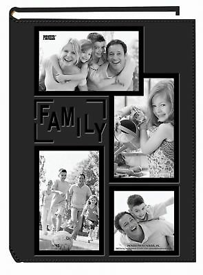"""Pioneer Collage Frame Embossed """"Family"""" Sewn Leatherette Cover 300 Pocket... NEW"""