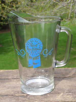 """Vintage 1970's Pabst Blue Ribbon Beer Thick Glass 8.5"""" Pitcher Unused"""