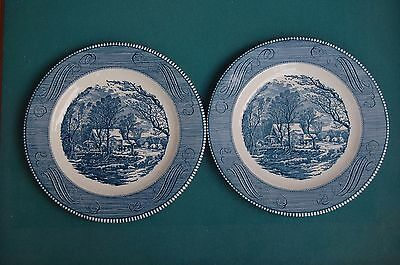 Two DINNER PLATES Blue Currier and Ives Old Grist Mill by Royal USA 10 inch VTG
