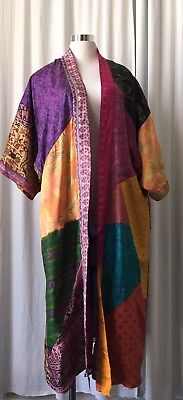 Sacred Threads 100% VTG Silk Patchwork Reversible Kimono Boho Duster Coat L