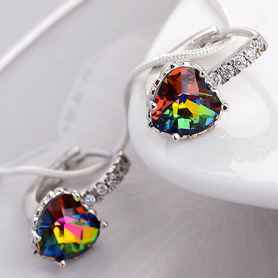 Women's 925 Silver Ear Stud Heart Rainbow Topaz Dangle Drop Earrings Jewelry