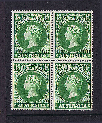 Australian Pre-Decimal Stamps 1955 3 1/2d First Stamp of Sth Aust Block 4 MNH