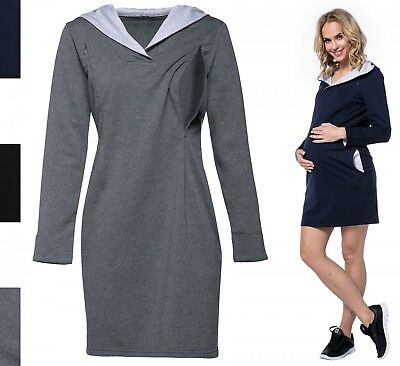 Happy Mama. Women's Maternity Nursing Hooded Sweatshirt Dress Zip Cut-Outs. 712p