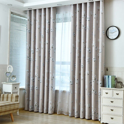 Fresh Flower Printed Blackout Curtain Gray Blind Country Blue Sheer Tulle 1Piece
