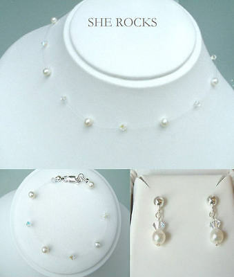Freshwater Pearl And Crystal Illusion  Bridal Jewelry Set Bridesmaids Jewellery