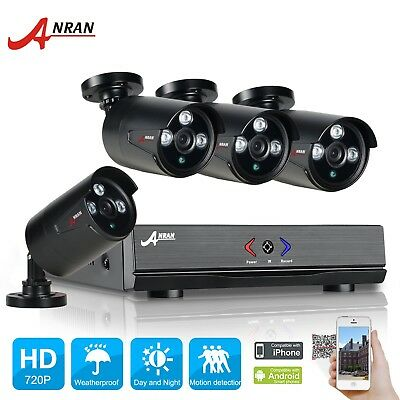 ANRAN 4CH 720P AHD 1800TVL CCTV Security Camera System Outdoor HDMI DVR Video IR