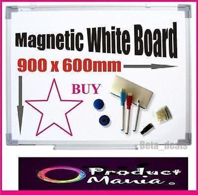 NEW MAGNETIC WHITE BOARD 900x600MM HANG FREE ACCESSORIES