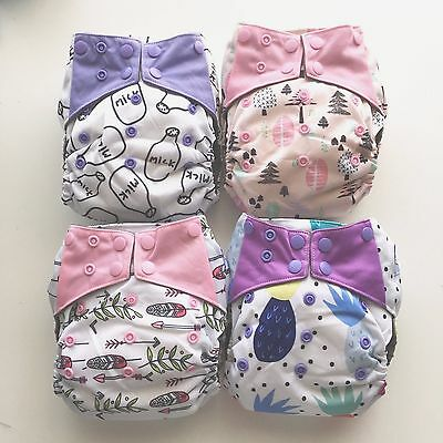 Cloth Nappy x 4 All-in-one (AIO) Bamboo Charcoal - more designs available!