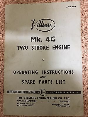 VILLIERS MARK 4G ENGINE OPERATING INSTRUCTIONS & SPARE PARTS BOOK..20 pages
