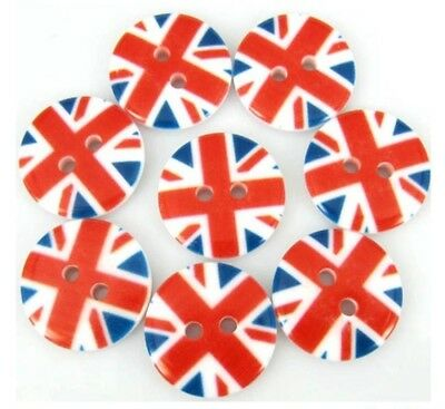 """8x Union Jack Buttons 2 Holes Resin Sewing Buttons Scrapbooking 18mm (3/4"""")"""