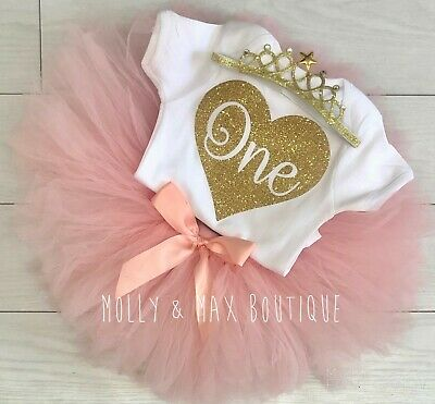 Baby Girls First 1st Birthday Outfit Tutu Skirt Set Blush Pink Cake Smash Top