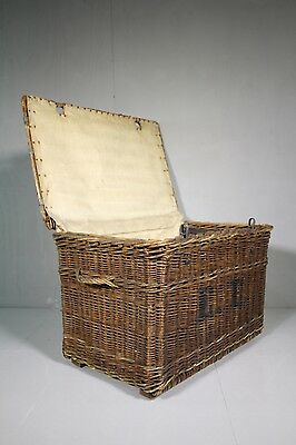 Edwardian Antique Woven Willow Laundry Basket.