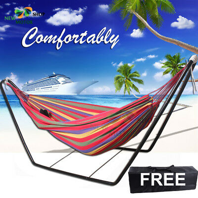 AU Double Cotton Fabric Hammock Steel Frame Stand Combo Swing Chair Home Outdoor
