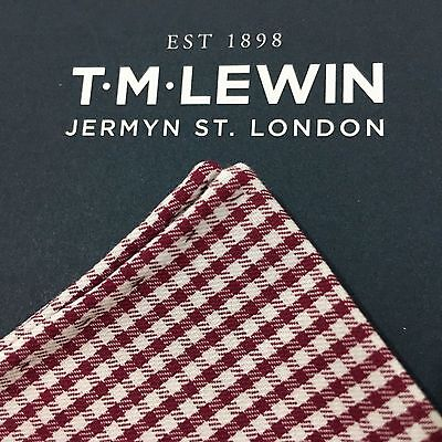 Mens T.m.lewin Maroon Red White Gingham Check Cotton Pocket Square Handkerchief