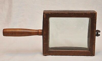 VINTAGE GLASS & WOOD CONCAVE  SCIENTIFIC or PHOTOGRAPHY DEVICE