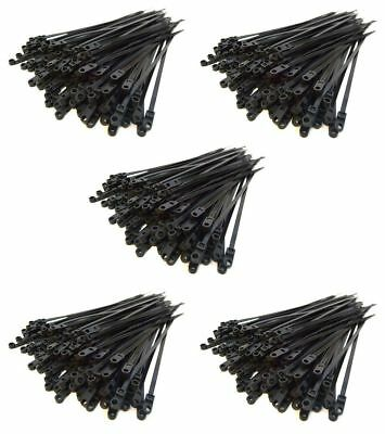 "500 Pack 7"" Metra Mounting Hole Zip Ties Nylon Black Nail Screw Wire Cable"