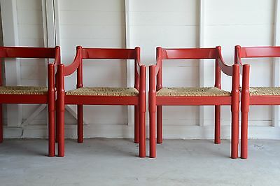 Vico Magistretti Carimate Chair Cassina Carver Vintage Mid Century Red Rush Seat