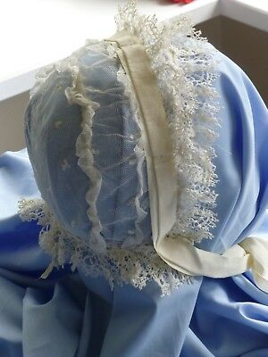 Antique Victorian 19th cent. lace bonnet with ribbon ties