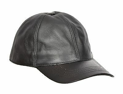 Real BLACK Leather Baseball Cap Sports Casual Velcro Fastening One Size Fits All