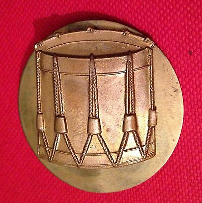 Vintage British Army Band Brass Drum Cap Badge c/w back plate 31mm x 25mm