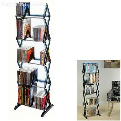 DVD Shelf Storage CD Rack Tower Organizer Multimedia Stand Shelves Holder  Smoke