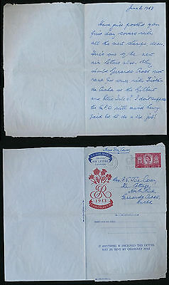 Gb 1953 Coronation Aerogramme First Day Issue + Message + Long Live Queen Slogan