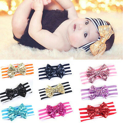 Elastic Baby Girls Headbands Cute Sequins Bow Hair Accessories for Babys FO