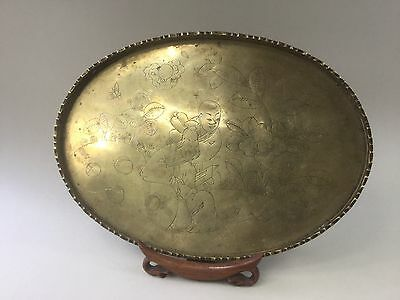 Chinese Engraved Brass Tray - Immortal in Garden Scene