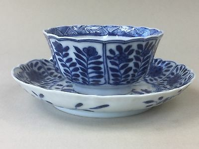 Chinese Kangxi Blue & White Tea Cup / Bowl and Saucer - Birds and Flowers