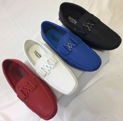 Men Giovanni Dress Shoe Loafer Casual Style Slip-On White Blue Red Black M15-20