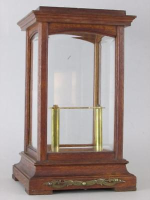 RARE ANTIQUE 400 DAY 4 GLASS CLOCK CASE tiger oak and bevel edged glass, superb!