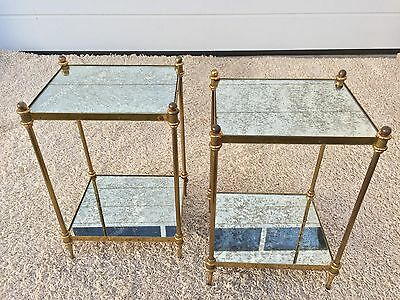 TWO Vintage 50s Maison Jansen Paris Glass Brass Side Table Mid Century Charles