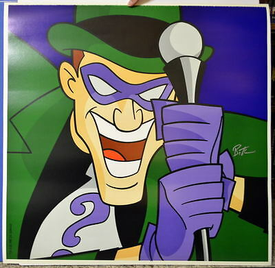 RIDDLER SQUARE FACE PRINT Hand Signed by artist Bruce Timm DC BATMAN Warner